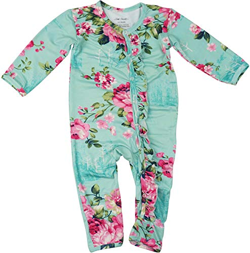Posh Peanut One Piece Baby Romper Silky Soft & Breathable - Premium Knit Infant Clothing - Bamboo Viscose (Aqua Floral, 18-24 Months)