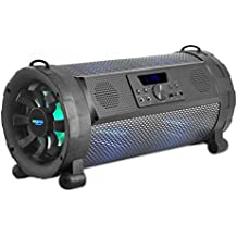 Pyle Bluetooth Boombox Street Blaster Stereo Speaker - Portable Wireless 300 Watt Power FM Radio/MP3 System w/Remote, LED Lights & Rechargeable battery - PBMSPG190