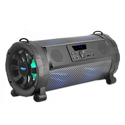 Pyle Bluetooth Boombox Street Blaster Stereo Speaker - Portable Wireless 300 Watt Power FM Radio / MP3 System w/ Remote, LED Lights & Rechargeable battery - PBMSPG190 ()