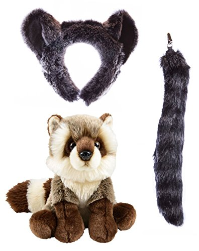 Wildlife Tree Stuffed Plush Raccoon Ears Headband and Tail Set with Baby Plush Toy Raccoon Bundle for Pretend Play Animals Dressup ()