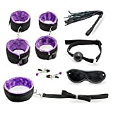 Set Bondage with Vibrator Anal Toy Fetish Woman Sex Toys for Couples Nylon Nipple Clamps Handcuffs Eye Mask Erotic