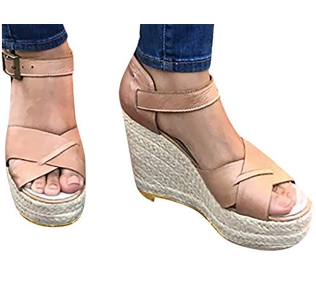 Cewtolkar Womens Sandals Summer Wedge Sandals Fashion Flats Open Toe Ankle Thick Bottom Straps Buckle Roman Sandals Pink