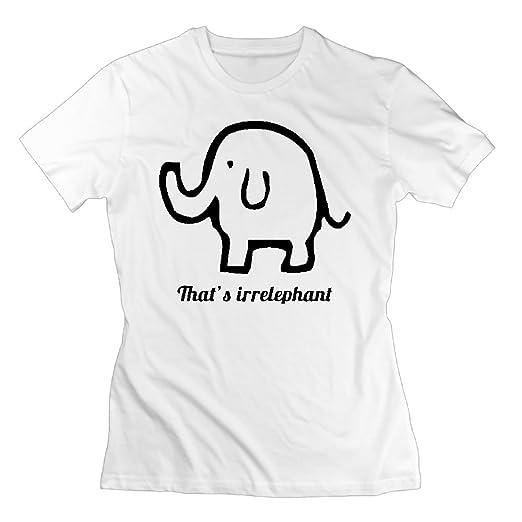 1aeaa107 Amazon.com: WuLion That's Irrelephant Women's Comfortable Short Sleeve T  Shirt White: Clothing