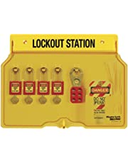 Master Lock 1482BP410 4-Padlock Capacity Lockout Station with Cover, Includes 4 Zenex Padlocks, Yellow
