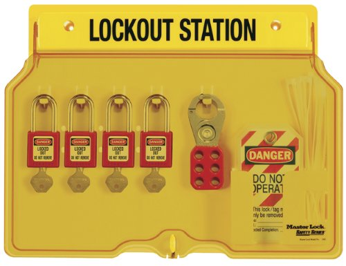 Lockout Tagout Station - Master Lock Lockout Tagout Station, Covered Group Lockout Station, Includes 4  Zenex Padlocks, 1482BP410