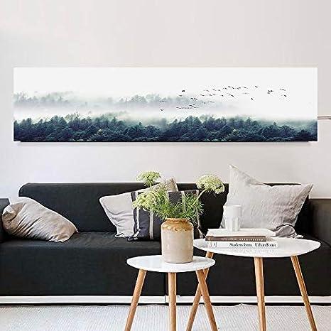KWzEQ Estilo nórdico Moderno Minimalista pájaro Bosque Niebla Pintura Decorativa Pintura al óleo Sala Arte decoración de la Pared Pintura,Pintura sin Marco,50x200cm