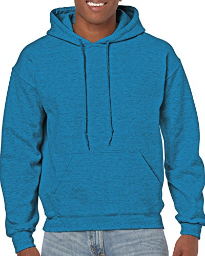 Gildan Men's Fleece Hooded Sweatshirt Antique Sapphire Large Shoulder Fleece Sweatshirt
