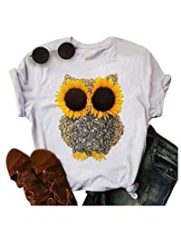 Womens Graphic Tees Summer Short Sleeve Cotton Sunflower Printed Owl T Shirts Tops