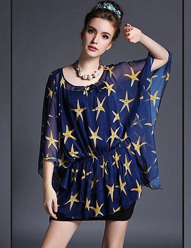 PU&PU Robe Aux femmes Grandes Tailles Grandes Tailles / Vintage / Soirée / Travail / Décontracté Mini Mousseline de soie , blue-l , blue-l