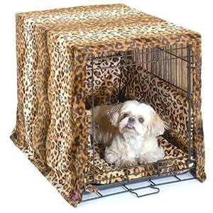 Pet Dreams 27811 Small Cratewear 3pc Set - Crate Cover, Mat, Bumper - Leopard