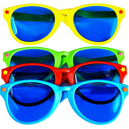 Sumind 4 Pieces Jumbo Sunglasses Plastic Glasses for Funny Christmas Party, Party Favors (9 Jumbo Piece)