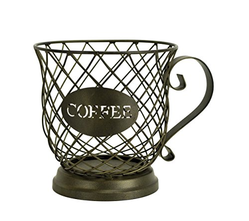 Kup Keeper Coffee & Espresso Pod Holder, Coffee Mug Storage Basket by Boston Warehouse (Wire Packet Rack)