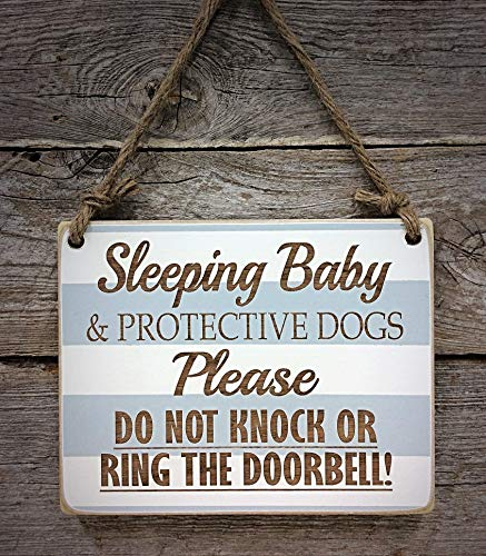 - Sleeping Baby & Protective Dogs - Please Do Not Disturb Sign - Baby Sleeping Sign - Baby Shower Gift