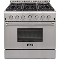 Kucht KRG3618U/LP Professional 36' 5.2 cu. ft. Propane Gas Range with Sealed Burners and Convection Oven, Stainless-Steel