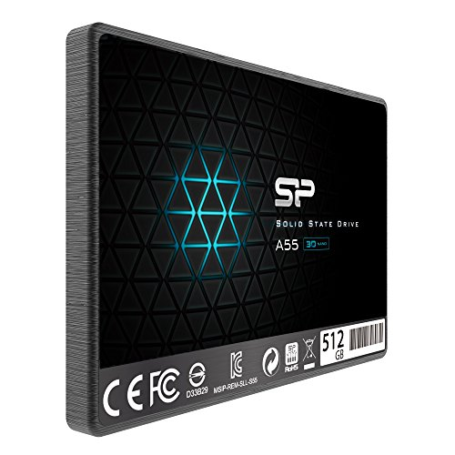 Silicon Power 512GB SSD 3D NAND A55 SLC Cache Performance Boost SATA III 2.5'' 7mm (0.28'') Internal Solid State Drive (SP512GBSS3A55S25) by Silicon Power (Image #1)