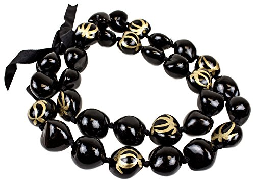 Barbra Collection Hawaiian Style Kukui Nut Lei Hand Painted Gold Turtle 32 Inches (Gold Kukui Lei Necklace)