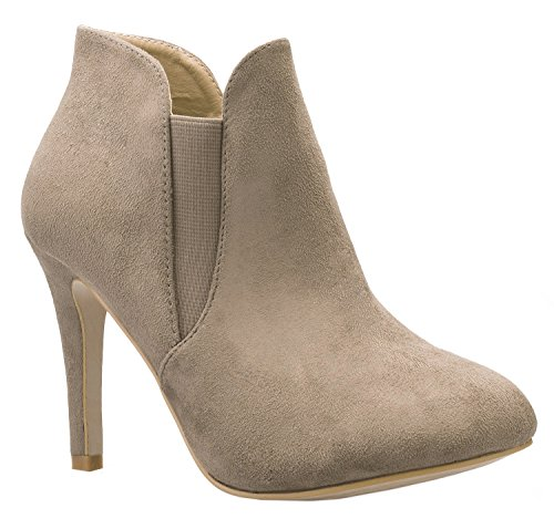 High Heel Ankle Boots - OLIVIA K Women's Side Elastic Gore Pull On Faux Suede Ankle Boot Bootie