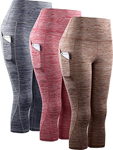 Neleus Women's 3 Pack Tummy Control High Waist Yoga Capri Leggings with Pockets,9034,red,Grey,Brown,S,EU M - Dry Capri