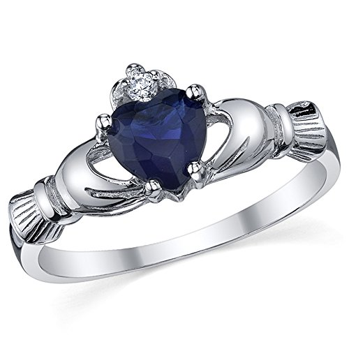 Sterling Silver 925 Irish Claddagh Friendship & Love Simulated Sapphire Blue Heart CZ Cubic Zirconia Ring 4