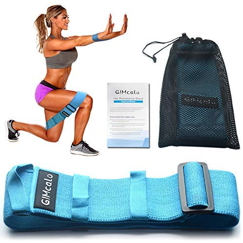 GIMcalo Hip Resistance Bands for Legs and Butt, Booty Band Adjustable Non-Slip Non-Roll Workout, Wide Thick Elastic Bands Exercise, Portable Glute Bands Loop for Women|Men, Butt Building (Blue)