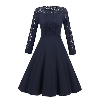 Damen Partykleid Weihnachtskleid Vintage festlich Ballkleid Abendkleid 36-44