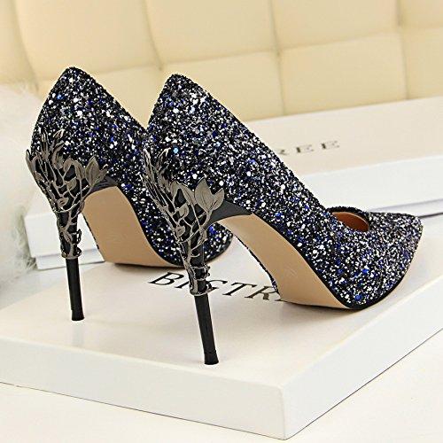 Femmes Cristaux Argent Couleur Cuir Bleu Ornes Fine Talons Clibataires En Qiqi Gradient Pointe Avec Xue De 36 Chaussures wq8OgqZ