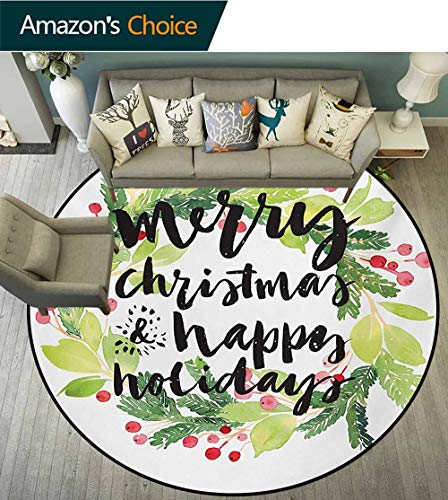 RUGSMAT Christmas Non Slip Round Rugs,New Year and Happy Holiday Rustic Design Wreath with Berries and Evergreen Image Oriental Floor and Carpets,Round-47 Inch White Green