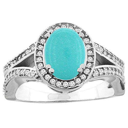 (14k White Gold Diamond Halo Genuine Turquoise Ring Split Shank Oval 8x6mm, size 9 )