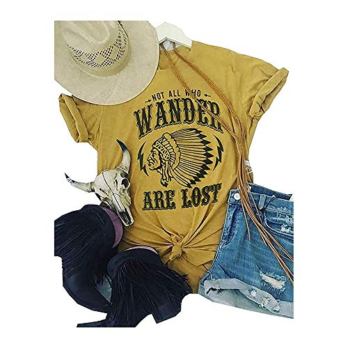 Not All Who Wander are Lost Women Travel T Shirt Compass Graphic Baseball Tee Short Sleeve Cotton Casual Tops (L, Yellow)