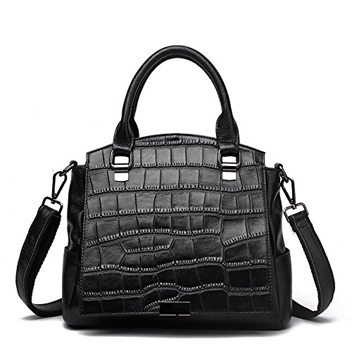 à Crocodile à En Bandoulière Fashion Black Sac Bag Main Cuir Cuir Sac En T1awCq