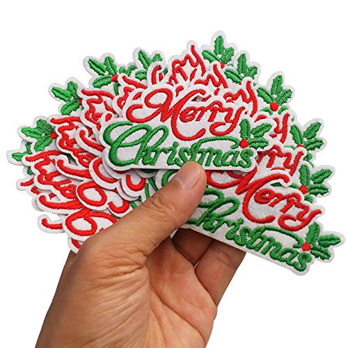 """3.2""""x1.7"""" 12pcs Merry Christmas Holiday Iron On Sew On Embroidered Patches Appliques Machine Embroidery Needlecraft Sewing Projects Crafts"""