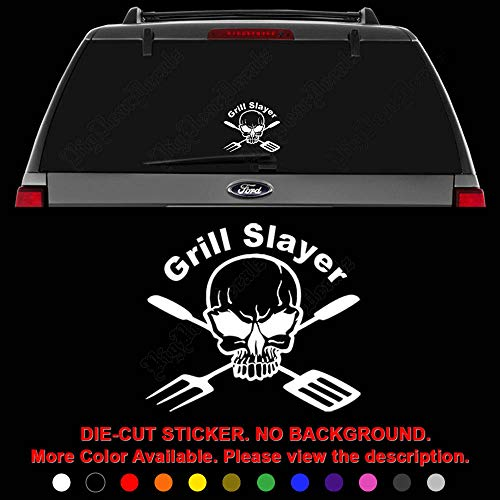- Death Skull Grill Slayer BBQ Die Cut Vinyl Decal Sticker for Car Truck Motorcycle Vehicle Window Bumper Wall Decor Laptop Helmet Size- [8 inch] / [20 cm] Wide || Color- Gloss Black