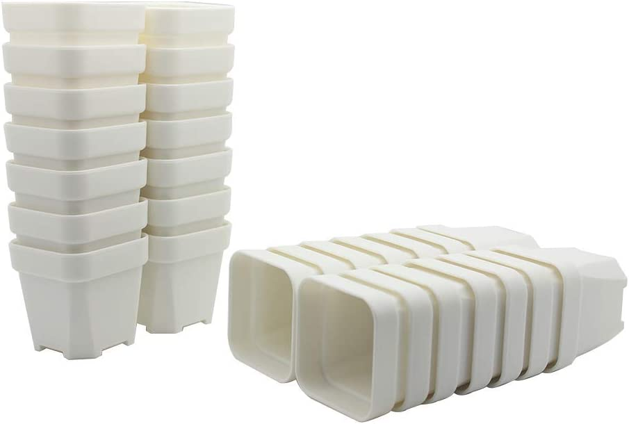Flower Pots Nursery Plastic Pot Saucer Garden White Square Seedling With Trays
