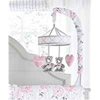 Wendy Bellissimo Baby Mobile Crib Mobile Musical Mobile - Bear Mobile from The Savannah Collection in Pink, White, and Grey