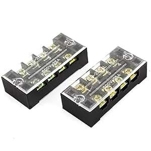 2 piezas de 2 Filas 4 posición del conector del cable de barrera Bloque 25A 600V