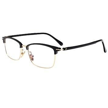f303d799d67a Retro Half Frame Horn Rimmed Eyeglasses Frames Reading Glasses TR90 Anti  Blue Lens Computer Readers 17021B
