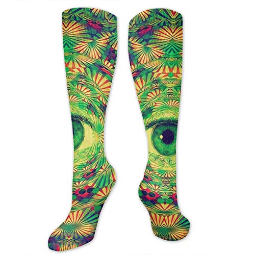 Fun Novelty Colorful Weird Trippy For Desktop Wallpaper 3D Print Casual Cotton Colorful Patterned Long Stocking Socks Unisex -