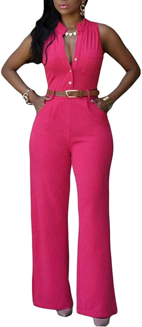 WSPLYSPJY Womens Sleeveless Button up Summer Wide Leg Jumpsuit with Belted