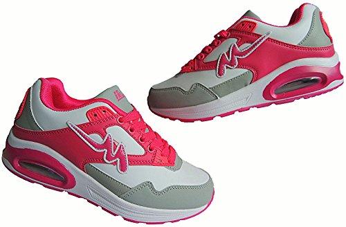 Damen Laufschuhe Turnschuhe Sportschuhe Sneaker nr.1285 weiß-peach
