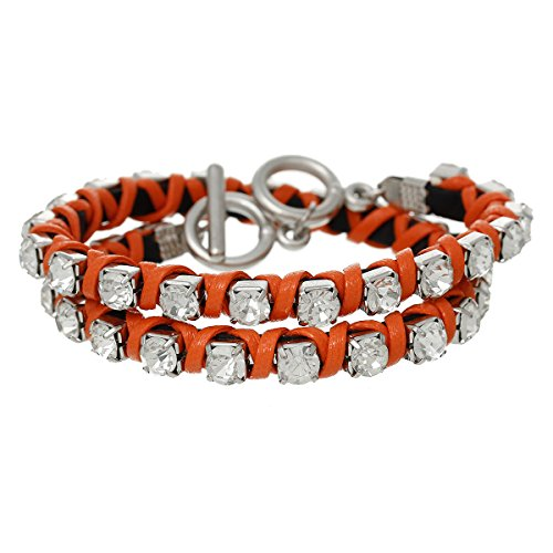 Genuine Bracelets Orange (Cowhide Genuine Rhinestone Leather Toggle Clasp Bracelets to Choose From (Orange))