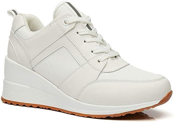 Cestfini White Heel Wedge Sneakers for