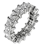 5.00 ct TW Ladys PrincessCut Diamond Eternity Wedding Band Ring in Platinum