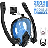 HENGBIRD Snorkel Mask, 2019 Prescription Full Face Snorkeling Mask Set with Camera Mount, 180° Panoramic View Easy Breathing and NO Foggy Anti-Leak Diving Mask for Adult and Kids