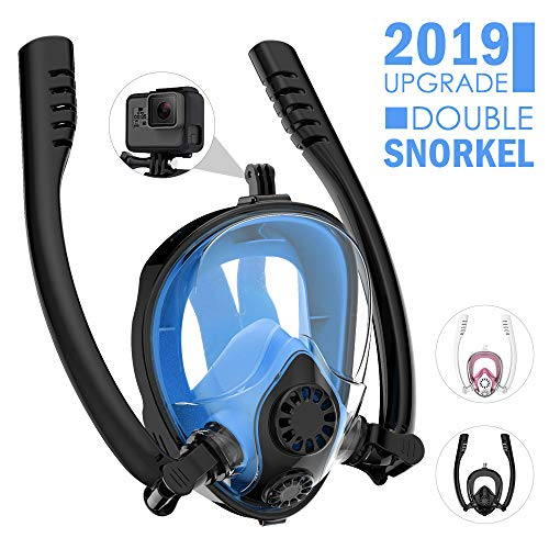 HENGBIRD Snorkel Mask, 2019 Prescription Full Face Snorkeling Mask Set with Camera Mount, 180 Panoramic View Easy Breathing and NO Foggy Anti-Leak Diving Mask for Adult and Kids