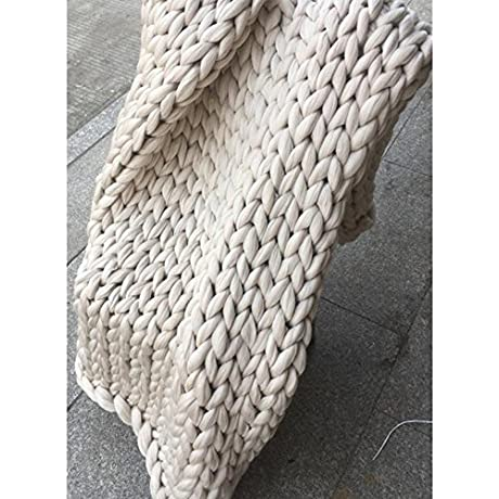 Gift Idea Apricot 79x79in Chunky Knit Blanket Merino Blanket Arm Knitting Throw Blanket Super Chunky Yarn Blanket Bulky Thick Blanket Decor Home Bedroom 79x79in