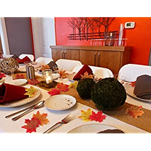 Moon Boat 500PCS Fall Artificial Maple Leaves Decorations - Thanksgiving Autumn Leaf Wedding Party Table Decor 6