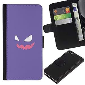 LECELL--Cuero de la tarjeta la carpeta del tirón Smartphone Slots Protección Holder For Apple Iphone 6 -- Cara púrpura P0kemon --