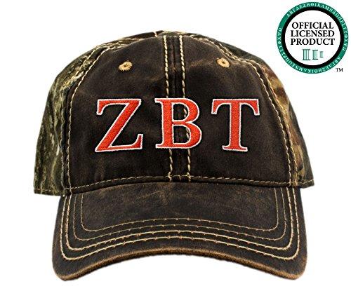 Zeta Beta Tau Embroidered Camo Baseball Hat, Various Thread Colors