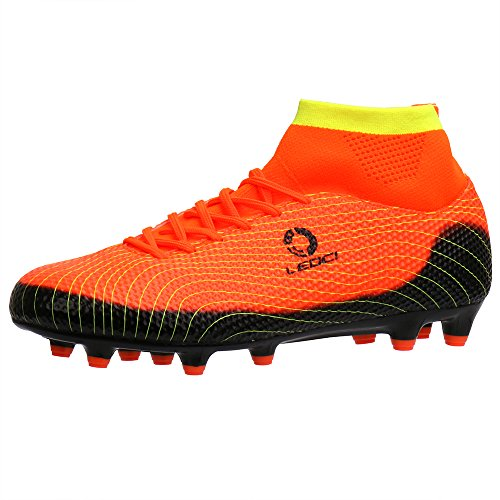 Aleader Boy's Athletic Soccer Cleats Football Boots Shoes Orange 5 M US Big Kid (Football Cleats High Tops Cheap)