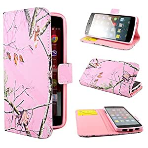 TUTUWEN Tree Leaves Design Wallet PU Leather Stand Flip Case Cover for Google Nexus 5
